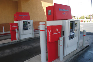Bank of America Gray Post Covers with Red Reflective Bands