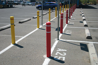 Car Rental Red and Yellow Post Covers with Reflective Bands