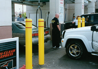 Car Wash Yellow Post Covers with Red Reflective Bands