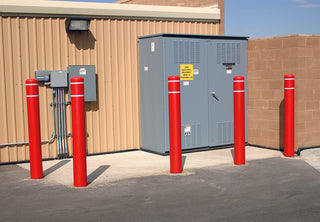 Electrical Box Red Post Covers with White Reflective Bands