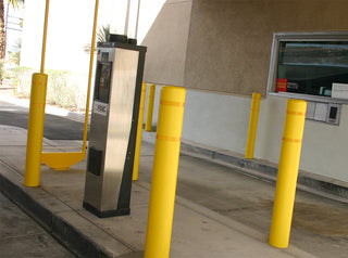 Wells Fargo Yellow Post Covers with Yellow Reflective Bands
