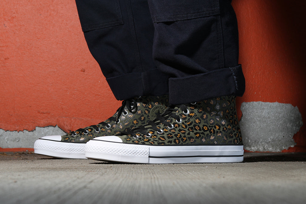 71196d5f509a A new CTAS Pro Hi and Lo feature leopard printed suede uppers with little  pops of color on the sock liner. Click the images for more details.