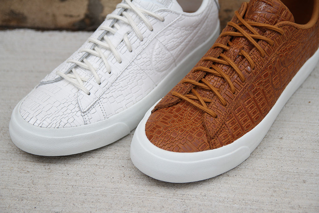 ... appearance of a woven textile and alligator skin. Both shoes feature  rope style lacing, gum under soles, and cork insoles. Click the images or  stop by ...