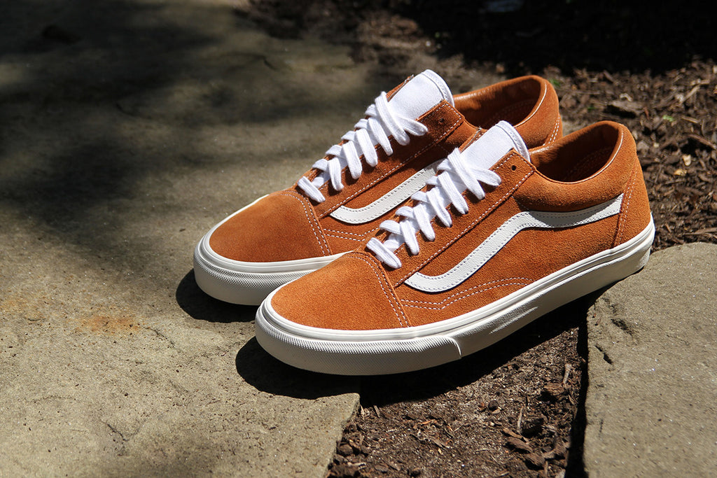 A few classics from Vans have arrived including the featured glazed ginger  suede Old Skool Retro Sport and a Sk8-Hi Reissue dubbed Vansbuck 2fc5f0baa