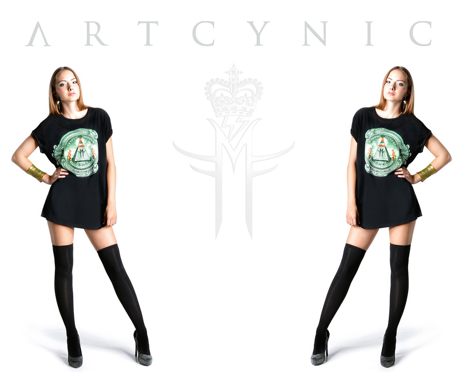 ARTCYNIC ECO LUXE COLLECTION CAMPAIGN T SHIRTS MILA FARGO 2014 / GUNS VIOLENCE RELIGION MIND CONTROL GOVERNMENT STUDY