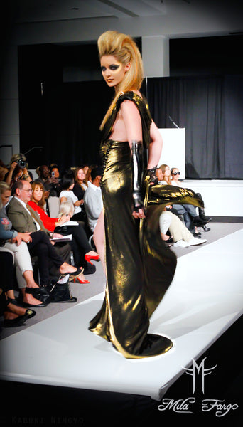 ARMADA DE V DEBUT GRADUATE COLLECTION MILA FARGO HAUTE COUTURE SPRING 2011/2012 / Liquid Samurai Golden Gown