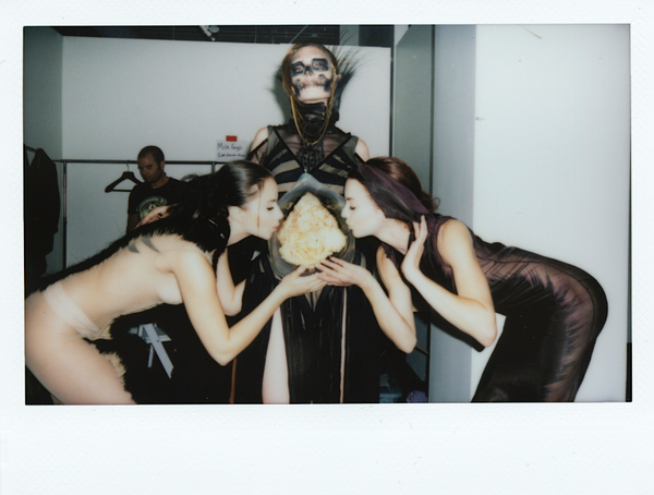 Mila Fargo BACKSTAGE BTS BEHIND THE SCENES MF baby kiss polaroid Duncan Cheng / EXOS COUTURE SHOW 2015 /16