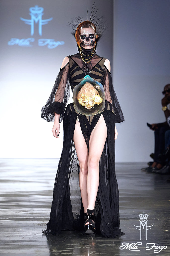 Mila Fargo OMISHA BRIDE OF DEATH AND REBIRTH Gown Finale runway look 6 / EXOS COUTURE SHOW 2015 /16