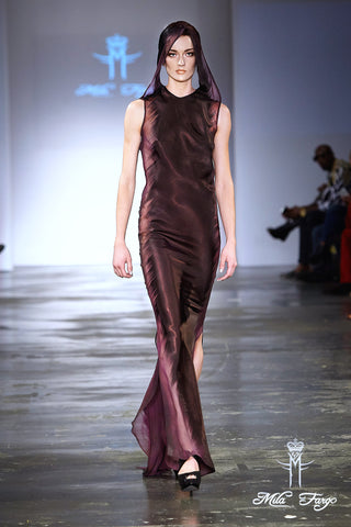 Mila Fargo Shadow of Death purple gown runway look 2 / EXOS COUTURE SHOW 2015 /16