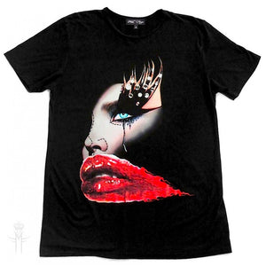 RED LIPS T-SHIRT | Black ( Limited Edition ) Mila Fargo T shirt