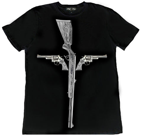 GUN CROSS T-SHIRT | Black - MF