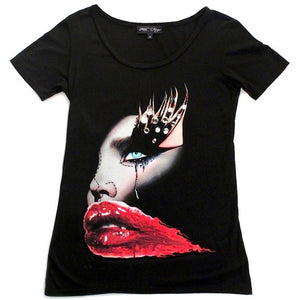 RED LIPS T-SHIRT | Black ( Limited Edition ) - MF