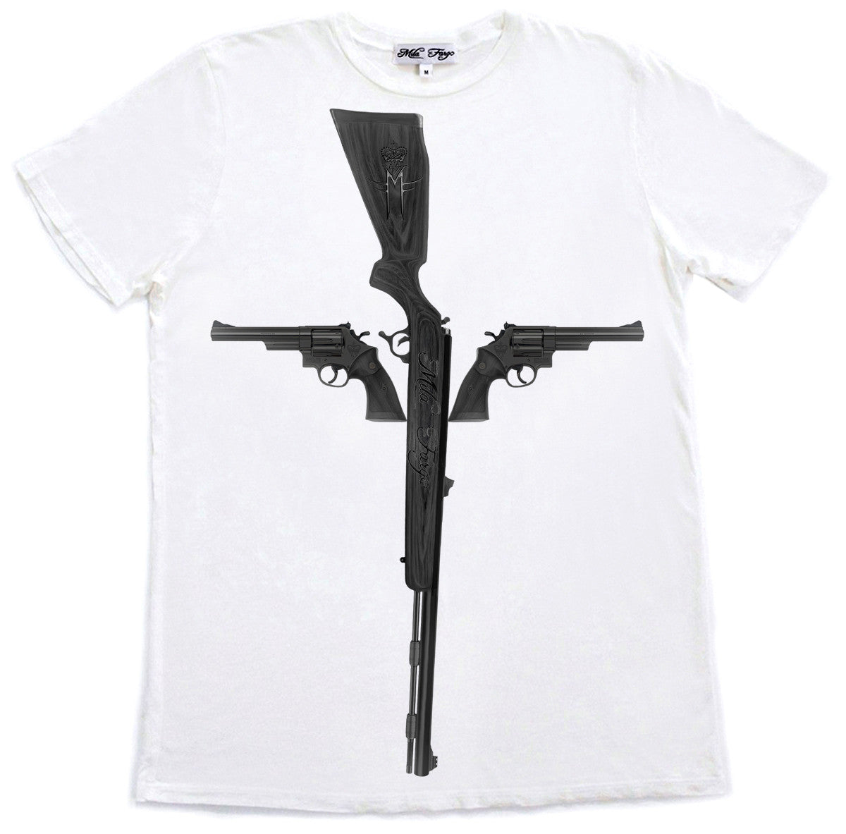 GUN CROSS T-SHIRT | White Mila Fargo T shirt