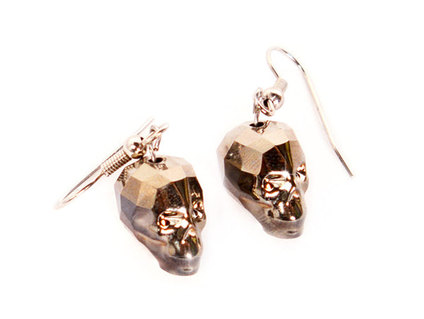 CRYSTAL SKULL EARRINGS | Gold Shadow Chromium - MF