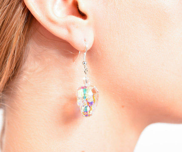 CRYSTAL SKULL EARRINGS | Crystal Aurora Prism - MF