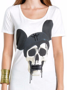MOUSE DECAY MICKEY SKULL T-SHIRT | White Mila Fargo T shirt