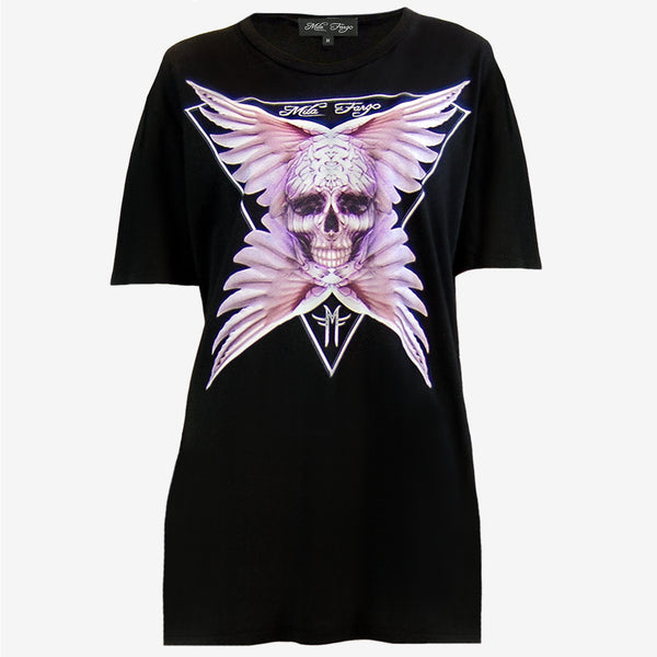 ANGEL ROSE FEATHER SKULL T-SHIRT | Black Mila Fargo T shirt