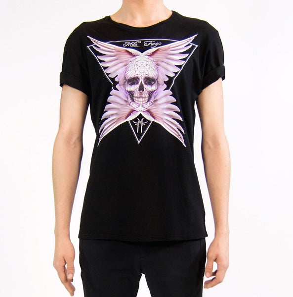 ANGEL FEATHER SKULL T-SHIRT | Black Mila Fargo T shirt