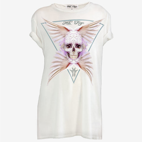 ANGEL ROSE FEATHER SKULL T-SHIRT | White - MF