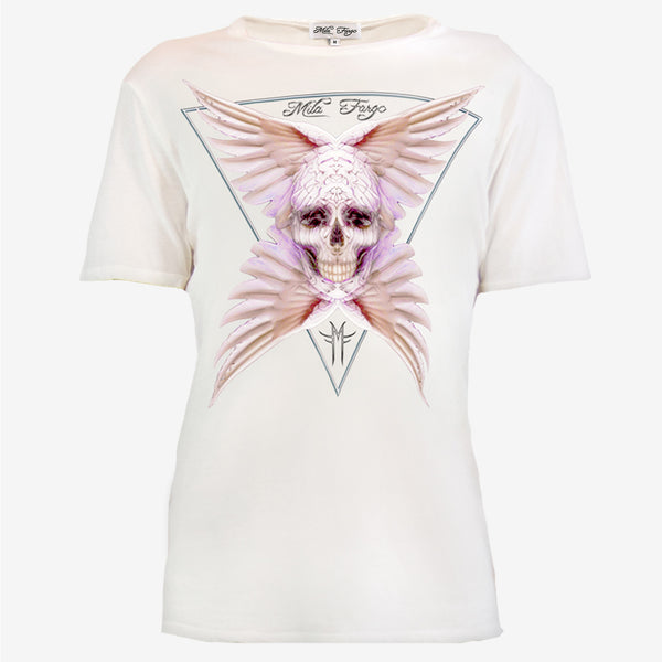 ANGEL FEATHER SKULL T-SHIRT | White - MF