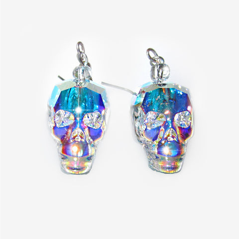 CRYSTAL SKULL EARRINGS | Crystal Aurora Prism Mila Fargo T shirt