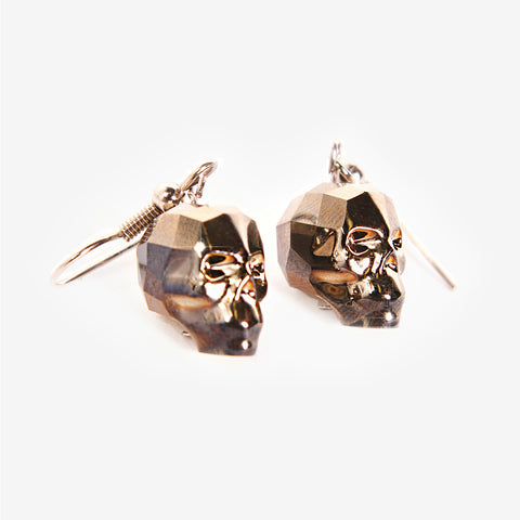 CRYSTAL SKULL EARRINGS | Gold Shadow Chromium - MILA FARGO | MF