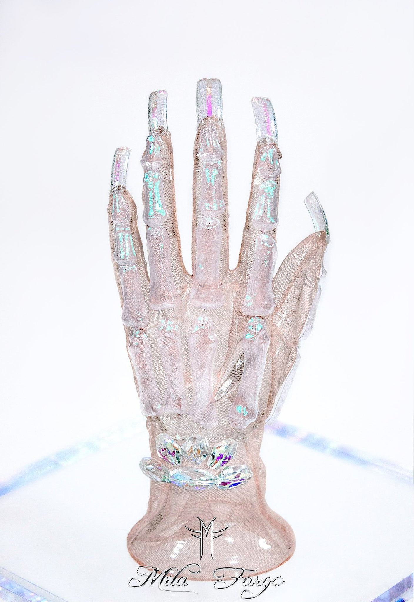 CRYSTAL SKELETON GLOVES | Aurora Prism - MF