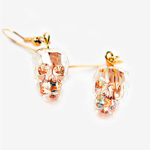 CRYSTAL SKULL EARRINGS | Crystal Gold Champaign Mila Fargo T shirt