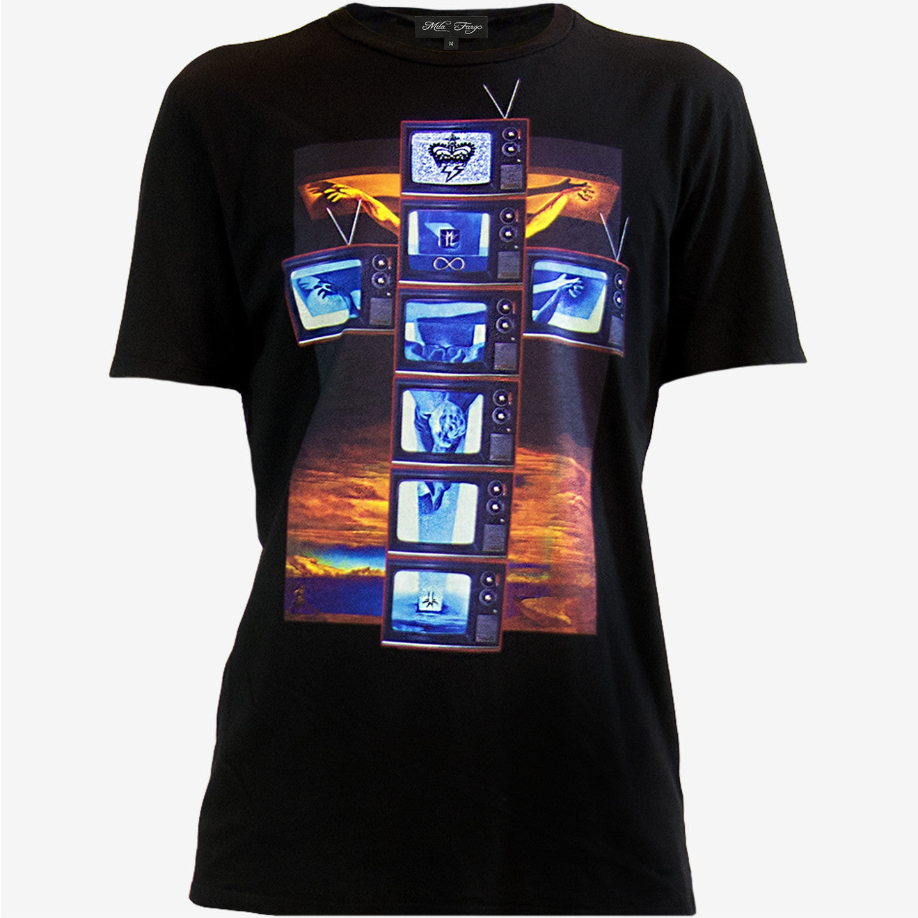 MODERN CRUCIFIXION TECHNICOLOR TV T-SHIRT | Black ( LE ) Mila Fargo T shirt
