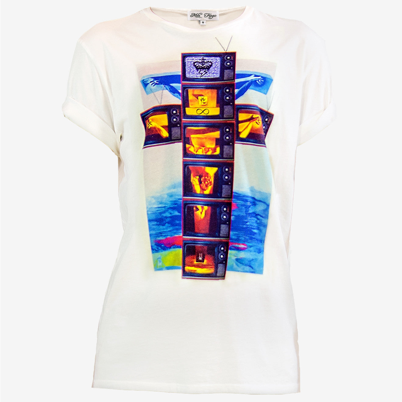 MODERN CRUCIFIXION COLOR TV T-SHIRT | White ( LE ) Mila Fargo T shirt