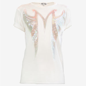 MF MONOGRAM SPLIT RIBCAGE T-SHIRT | Iridescent White Mila Fargo T shirt