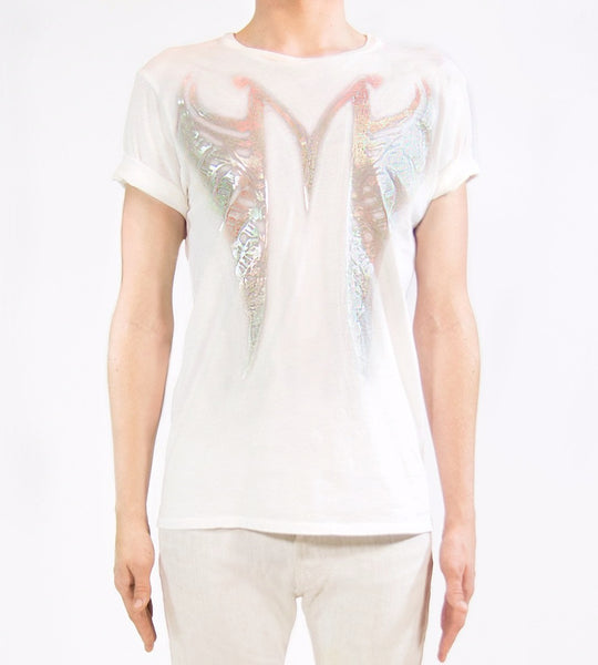 MF SPLIT RIBCAGE T-SHIRT | Iridescent White Mila Fargo T shirt