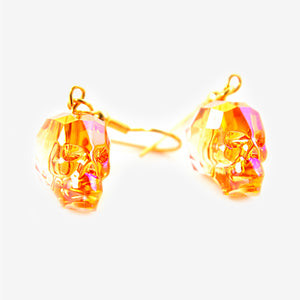 CRYSTAL SKULL EARRINGS | Astral Pink Fire Mila Fargo T shirt