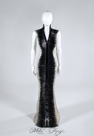 SHADOW OF DEATH EVENING GOWN | Black Feathers - MF