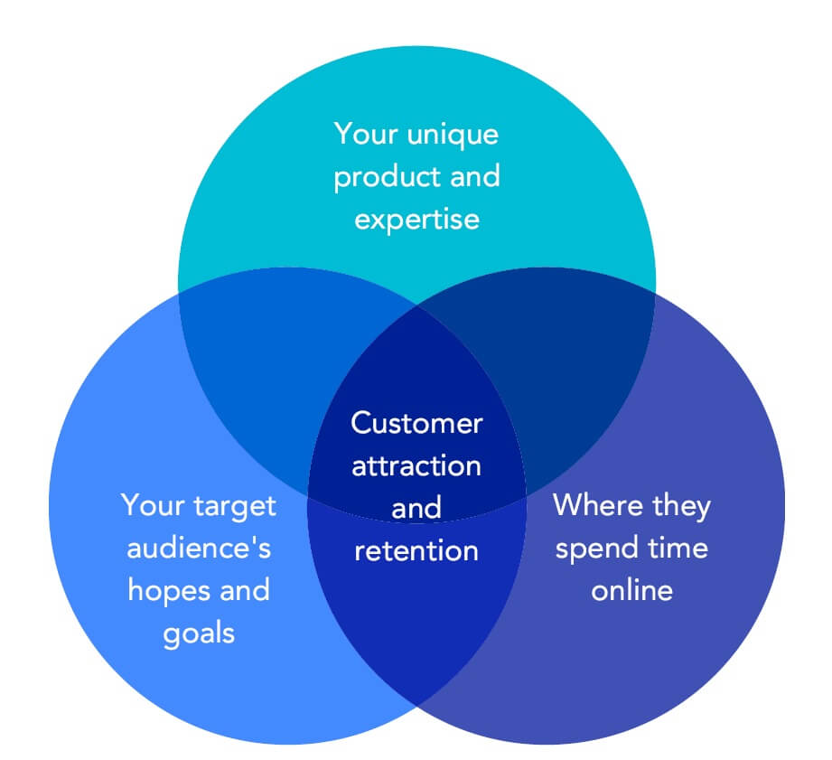 Your unqiue product and expertise, Your target audience's hopes and goals, Customer attraction and retention, Where they spend time online