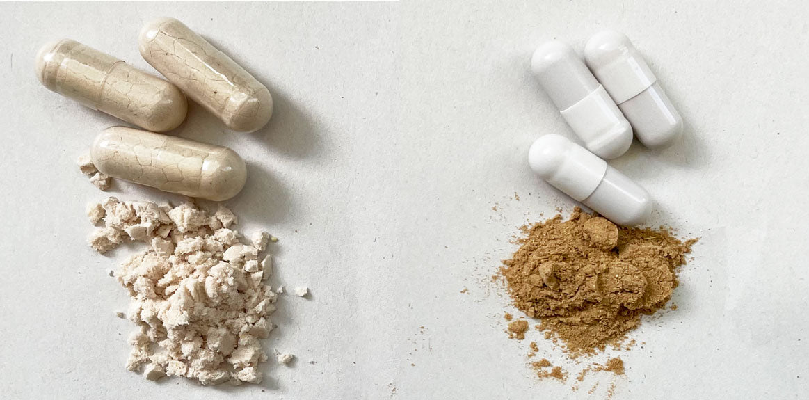 Bright Nutrition IEB9 Inner Ear Balance real herbal extract powder is dark brown compared to fake white mystery powder.
