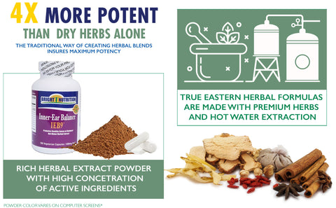 Unlike fake products from Amazon, IEB9 Inner Ear Balance by Bright Nutrition is made using a state of the art process that mimics the traditional way of making herbal formulas.