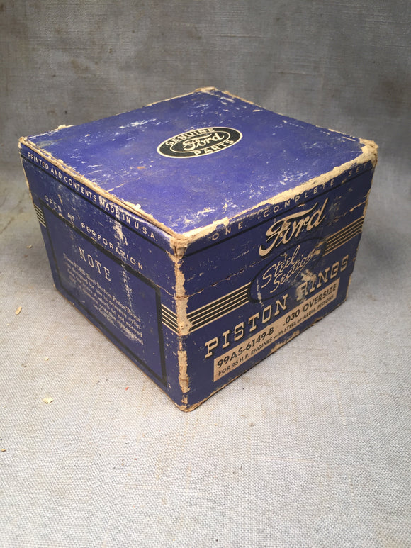 Ford flathead piston rings .030 1939-1941 3-groove steel section 99AS-6149-B NOS - Andrew's Automotive Archaeology
