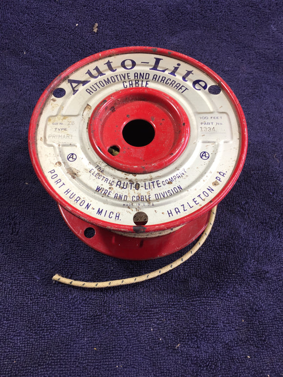 1930s 1940s 1950s Ford Autolite automotive and aircraft wiring cable 100 ft roll - Andrew's Automotive Archaeology