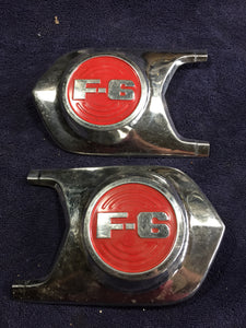 1952 Ford truck F-6 hood medallion emblem PAIR Used - Andrew's Automotive Archaeology