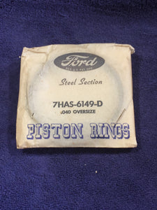 1947-1948 Ford H-series 90 HP 6-cylinder piston rings .040 7HAS-6149-D NOS - Andrew's Automotive Archaeology