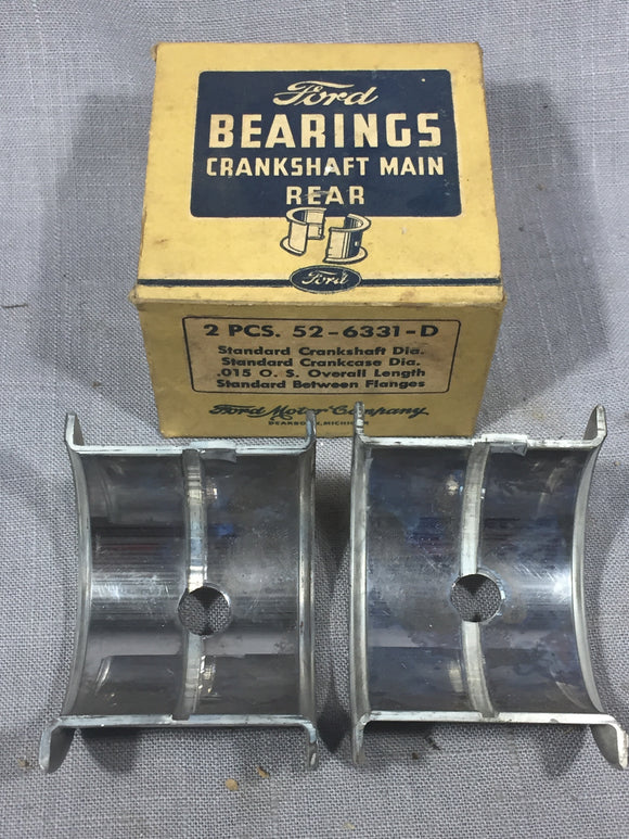 1937-1939 Ford 60 HP flathead rear main bearing .015 52-6331-D NOS - Andrew's Automotive Archaeology