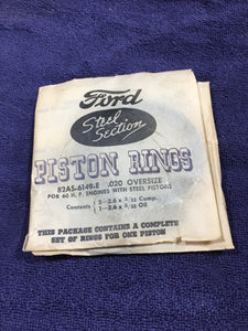 1937-1940 Ford flathead V8-60 piston rings .020 82AS-6149-E NOS - Andrew's Automotive Archaeology