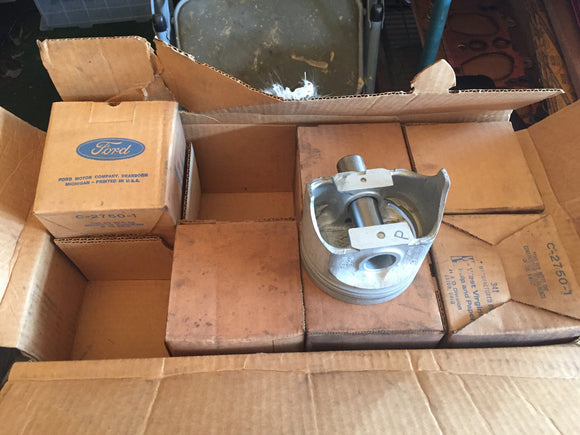 1965-1977 Ford 300 cid piston set NOS C5TZ-6108 0.020 - Andrew's Automotive Archaeology - 1