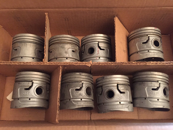 1935-1942 Ford 90 hp flathead pistons 01T-6108-C .020 - Andrew's Automotive Archaeology