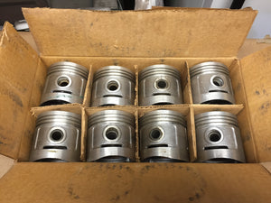 1932-1936 Ford 90 HP flathead .020 3-groove aluminum flat top pistons 40-6108 NO - Andrew's Automotive Archaeology