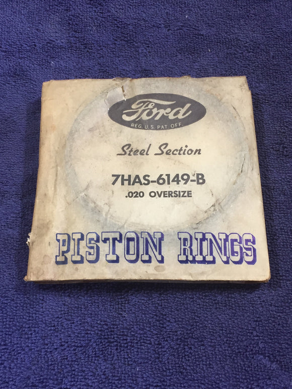 1947-1948 Ford H-series 90 HP 6-cylinder piston rings .020 7HAS-6149-B NOS - Andrew's Automotive Archaeology