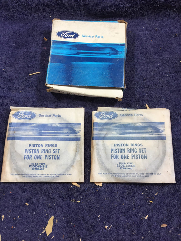 1965 and up Ford 200 250 straight six piston rings STD C3OZ-6148-E NOS - Andrew's Automotive Archaeology