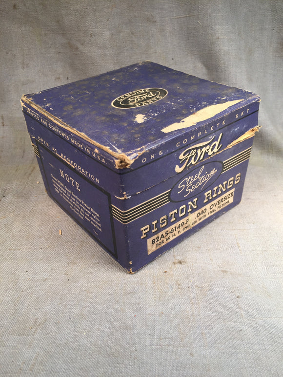 1937-1940 Ford 60 HP flathead steel section type piston rings .040 82AS-6149-F N - Andrew's Automotive Archaeology