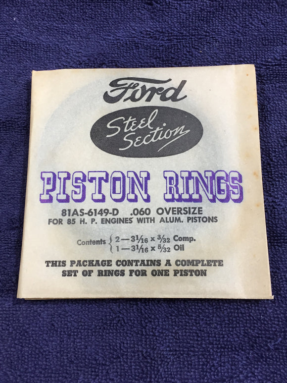 1932-1942 Ford flathead 90 HP 221 V8 piston rings .060 81AS-6149-D NOS - Andrew's Automotive Archaeology